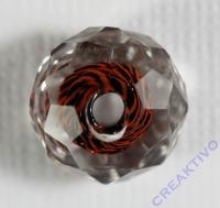 Glasschliffperle Streifenperle 12mm rot