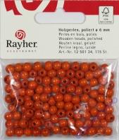 Rayher Holzperlen FSC, poliert 6mm 115St orange