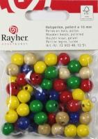 Rayher Holzperlen FSC, poliert 10mm 52St gemischt