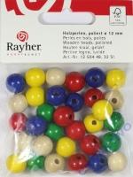 Rayher Holzperlen FSC, poliert 12mm 32St gemischt