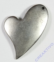 Pracht Metallanhänger Herz altplatin 42x33mm