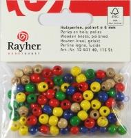 Rayher Holzperlen FSC, poliert 6mm 115St gemischt