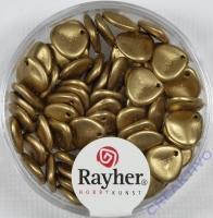 Glasperlen Blätter 7x8mm 70 Stück gold