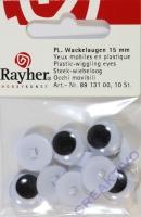 Plastk-Wackelaugen 15mm 10 Stück rund zum Aufnähen