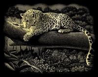 Gravurfolie gold Leopard im Baum
