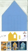 Karen Marie Passepartout-Karte Haus 3 Stück hellblau
