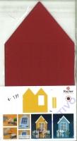 Karen Marie Passepartout-Karte Haus 3 Stück bordeaux