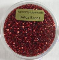 Pracht Delica Rocailles 2mm 7g rot mit Silbereinzug