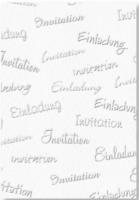 """Bastelkarton """"Schriften & Motive"""" geprägt - Einladung weiß (Restbestand)"""