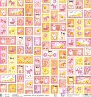 Premium Glitter Scrapbook paper Baby Girl 104