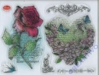 Silikon-Stempel Blumenherz & Rose