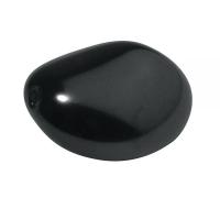 Glaswachsperle: Kiesel, anthrazit, 26x22 mm (Restbestand)