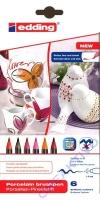 Edding 4200 Porzellan-Pinselstifte Rot-Töne 6 Stifte