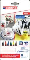 Edding 4200 Porzellan-Pinselstifte Standard-Farben 6 Stifte