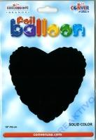 Folienballon Herz schwarz 18 / 45cm