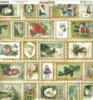 Scrapbooking Papier Christmas Collage - Stamps (Restbestand)