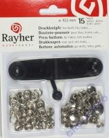 Rayher Druckknöpfe für Stoff, Filz, Leder 10,5mm 15 Stück
