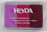 Heyda 3-Color Stempelkissen purpur - pink - bordeaux