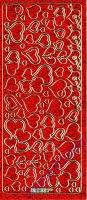 Stickerbogen Herzen 23x10cm Holographisch rot