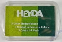 Heyda 3-Color Stempelkissen hellgrün - grün - dunkelgrün