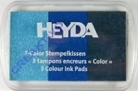 Heyda 3-Color Stempelkissen hellblau - blau - dunkelblau