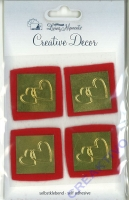 Heyda Living Moments Metall-Sticker Herzen/Filz rot/gold (Restbestand, reduziert)