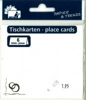 Heyda Tischkarten 6 Stück Ringe perlweiß (Restbestand)