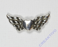 Pracht Metallzwischenteil Flügel mit Herz altplatin