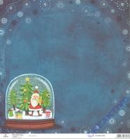 Scrapbooking-Papier Santa Big Snow Globe