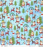 Scrapbooking-Papier Santa with Reindeer