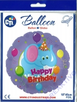 Folienballon Happ Birthday - Elefant 18 / 45cm