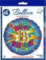 Folienballon Happy 18th Birthday 43cm