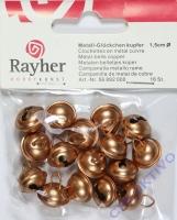 Rayher Metallglöckchen kugelförmig 15mm kupfer 16 Stück