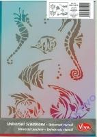 Universal-Schablone Seepferdchen + Fische