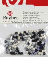 Rayher Holzperlen FSC, poliert 4mm 150St Grautöne (Restbestand)