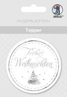 Topper weiß/silber Frohe Weihnachten