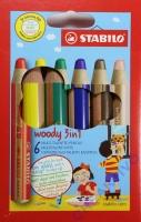 Woody 3 in 1 - Set mit 6 Stiften