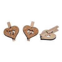 Kork/Holz Herz auf Klammer