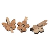 Kork/Holz Blume & Schmetterling auf Klammer