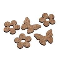Kork/Holz Streuteil Blume & Schmetterling