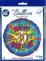 Folienballon Happy 30th Birthday 43cm