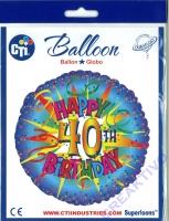 Folienballon Happy 40th Birthday 43cm