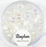 Rocailles-Mix mit Großloch, 5,5mm ø Weiß-Töne