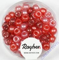 Rocailles-Mix mit Großloch, 5,5mm ø Rot-Töne