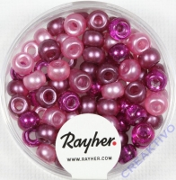 Rocailles-Mix mit Großloch, 5,5mm ø Pink-Töne