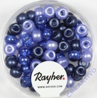 Rocailles-Mix mit Großloch, 5,5mm ø Blau-Töne