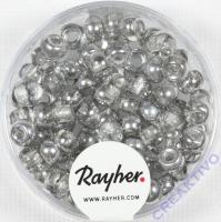 Rocailles-Mix mit Großloch, 5,5mm ø Silber-Töne