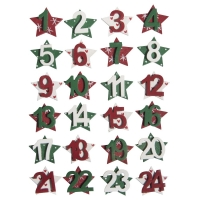 Adventszahlen MDF Sterne 1-24, 2,5cm ø