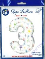 Multi-colored Sparkles Folienballon 3 106cm