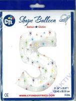 Multi-colored Sparkles Folienballon 5 106cm